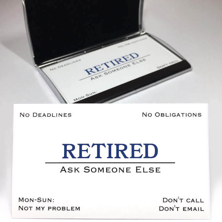 retirement business cards