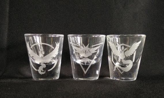 pokemon go mystic instinct and valor shot glasses