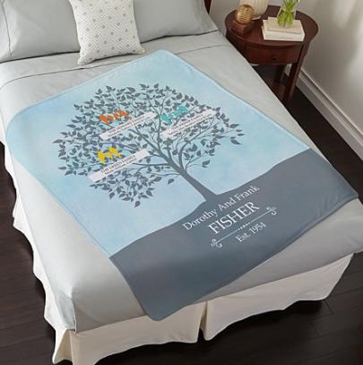 loving family tree plush blanket