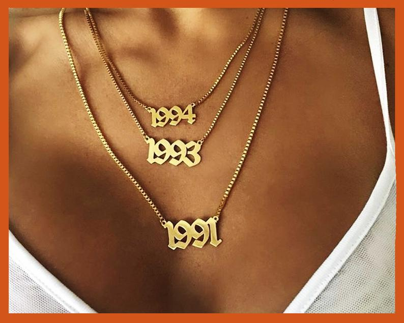 Personalized number necklace Birth year necklace Anniversary image 0
