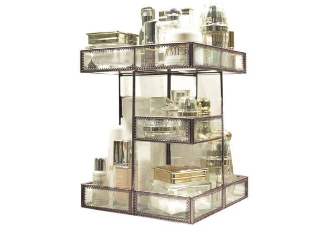 rotation glass perfume and makeup organizer