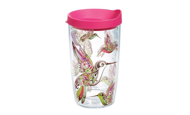 hummingbird glass travel mug
