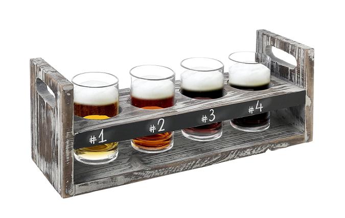 Rustic Wooden Beer Tasting Set